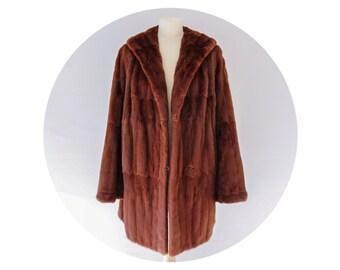 Vintage Russet Red Ermine Coat