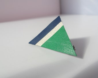 PIN triangle leather Navy Blue, white iridescent and forest green
