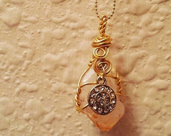 Citrine wire wrapped crystal