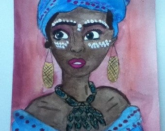 African Beauty-watercolor and acrylic painting