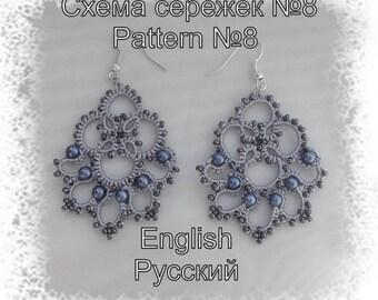 "Pattern ""Earrings 8"" (2 PDF files: ENG, RUS). Frivolite, tatting scheme."