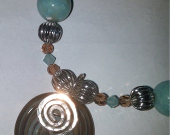 """18"""" Blue and Sterling Silver Beaded Necklace FREE SHIPPING!"""