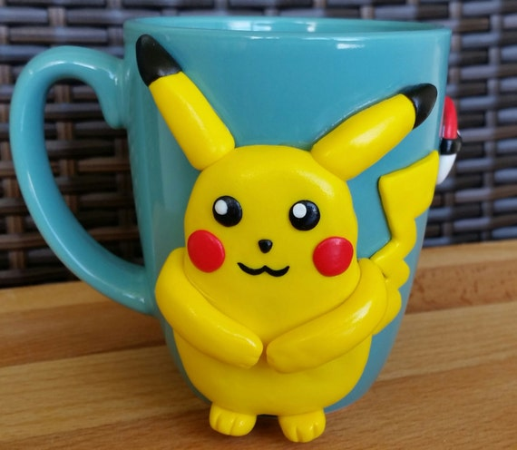 Pokemon cup, Pokemon go Cup, Pikachu cup, Kid's Personalized Cup, Mug with handmade clay decorations