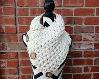 Chunky Cream 3 Button Crochet Cowl - Geneva Scarf