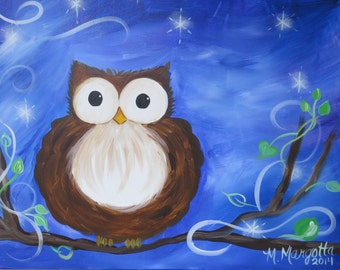 Starlight Owl Canvas Painting