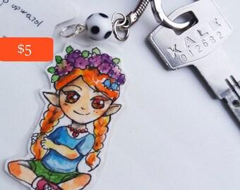 Keychain watercolor flower elf