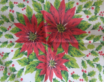 Vintage Poinsettia and Holly Cotton Tablecloth With Ornaments