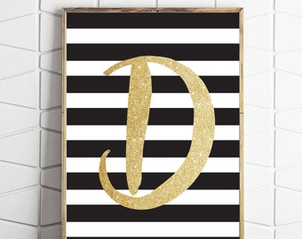 gold monogram letter D, gold nursery print, custom gold print, letter gold print, kids monogram print, baby prints, kids prints
