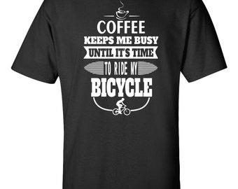 Cyclist Coffee Lover Funny Tshirts Cyclist Gift Ideas Bicycle Lovers Gift Mens Cyclist Gift Bicycle T-shirt Gift For Cyclist Coffee Shirt