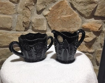 Vintage Black Tiara cream and sugar bowls