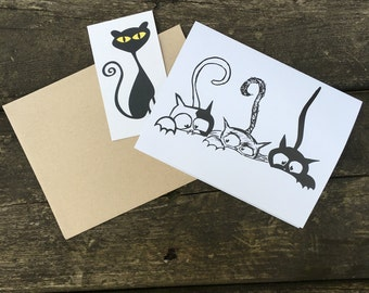 Three Curious Cats Note Card