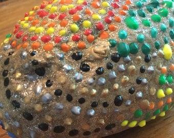 Multi colored large rock
