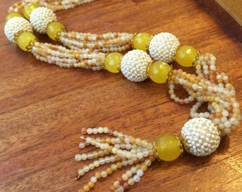 Golden beaded crystal necklace