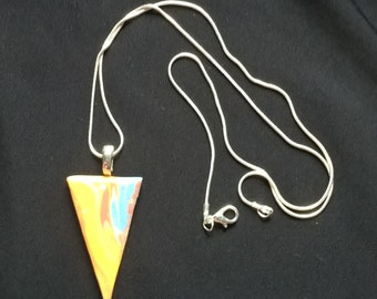 Marble glazed triangle pendant