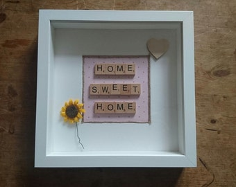 Scrabble Art, Scrabble frame, Housewarming gift, Home Sweet Home,Home Decor, Wall Art, New Home, Birthday Gift