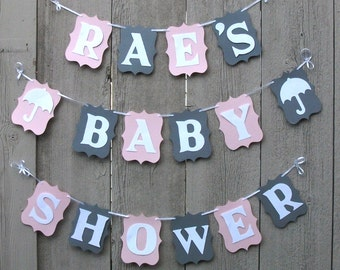 Baby Shower banner, Personalized baby shower banner sign, Baby shower decorations, Pink and Gray, Baby banner, Baby garland, Baby girl