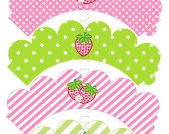 Strawberry Birthday Printable Cupcake Wrappers Instant Download Strawberry Party Decorations Strawberry Wrappers Summer Party Wrappers