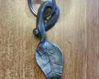 Hand forged leaf key chain