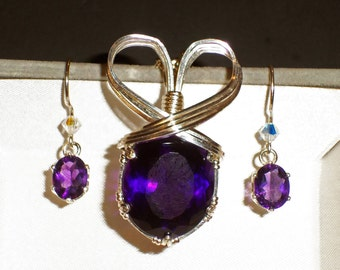 Big Amethyst pendant and earrings wrapped in .925 Sterling Silver