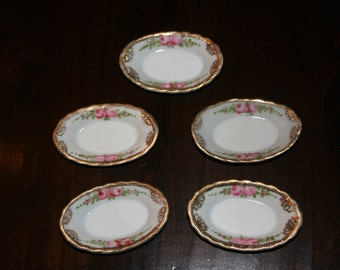 Antique Butter Pats - Salt Dishes - Salt Cellars -  Hand Painted - Nippon - Set of 5