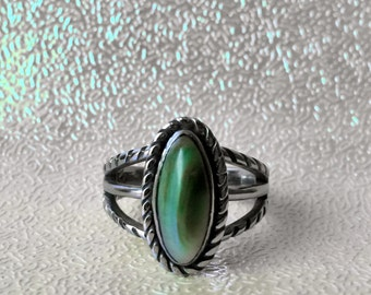 Handmade *Aurora*Green Shell Ring! Carving stainless / Hand crafted one of a kind