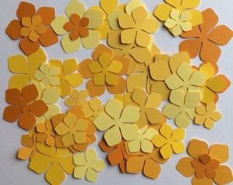 50 Flower Assorted Sizes Citrus Colors Paper Embellishments