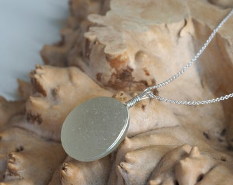Large round Seaglass Pendant + Stirling Silver chain