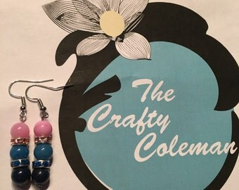 Pink and blue jeweled earrings