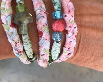 Handcrafted Bracelet from hand-rolled decorative paper beads and braided cotton material strips