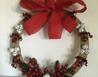 """Christmas wreath wrapped in burlap with berries and bells 18"""""""
