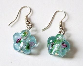 Czech Glass Flower drop earrings
