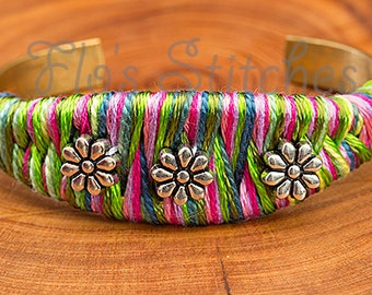 Green and Pink Flower Bracelet
