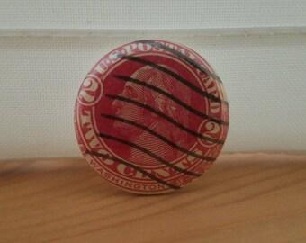 Vintage Stamp Button Pin