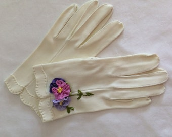 Antique Vintage Gloves with Ribbon Work Flowers