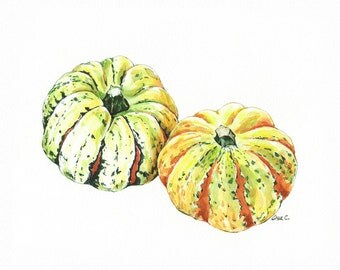 "Watercolor Print  ""Squash"" No 5. Kitchen Wall Decor, Vegetable Art Print,Squash poster, Kitchen art, Vegetable print"