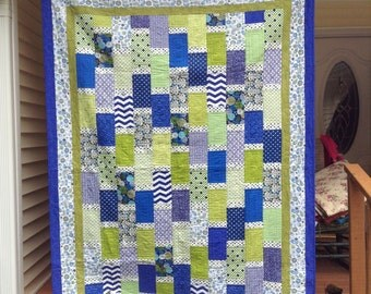 Blue and Lime Brick Quilt