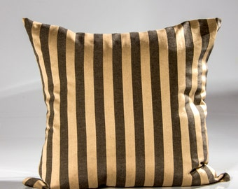Designer pillow cover, brown and taupe designer pillow, striped designer pillow, decorative pillow