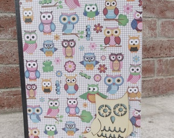 Altered Composition Notebook, Owl, Glitter, Diary, Journal, Notes