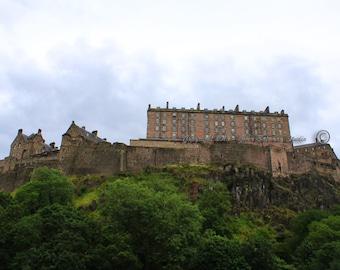 Edinburgh Castle - Scotland, Castle, Scotland, Edinburgh, History, Stonewall, Cliffs, Green, Blue, Trees