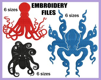 Fill Octopus - Design for Embroidery Machine Digital Graphic Filled Stitch Instant Download Commercial Use squid tentacle marine File 118e