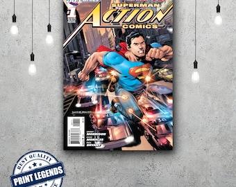 Superman Comic Book Cover Canvas Print - Canvas Art - Wall art