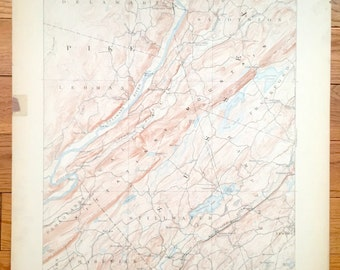Antique Walpack Township, New Jersey - 1893 US Geological Survey Topographic Map