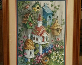 "HOMCO ""Birdhouse Village"" Picture"