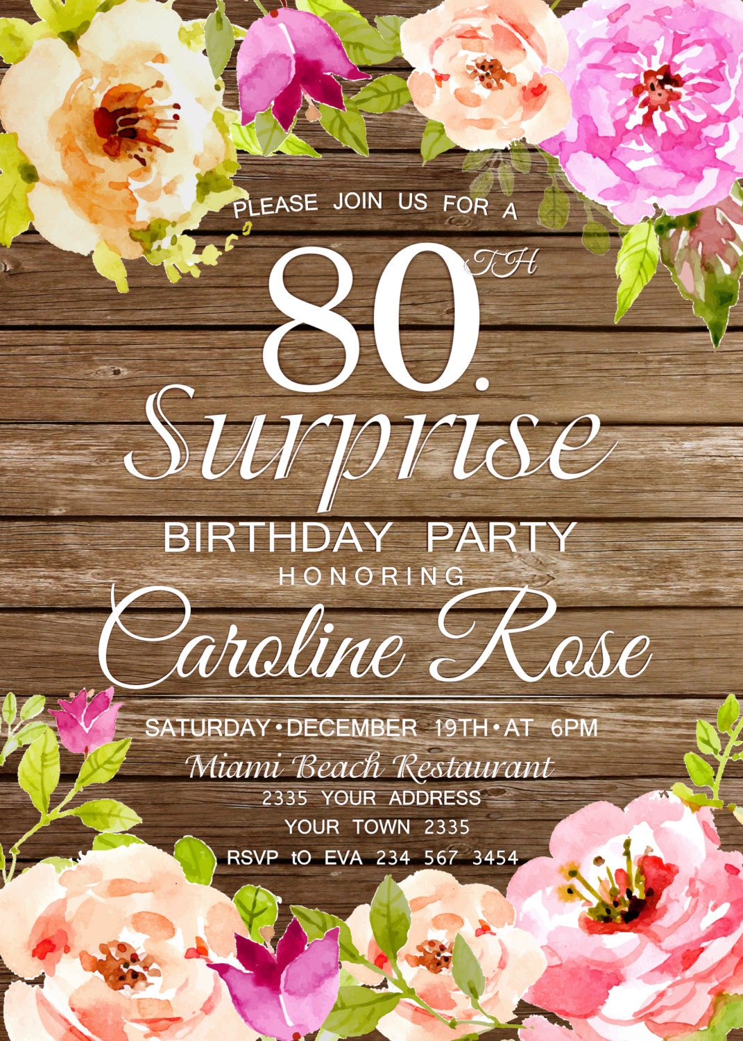 80th birthday invitation surprise birthday party invitation 80th birthday invitation surprise birthday party invitation wooden birthday invitation watercolor flowers filmwisefo Image collections