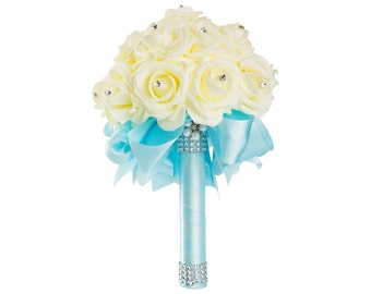 Blue Wedding Bouquet - Ready To Ship - Ivory Rose Bouquet - Bridal Bouquet - Blue Bouquet - Something Blue - Bridesmaid Bouquet - Rhinestone