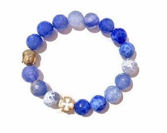 Boho Gemstone Bracelet, Crystal Bracelet, Agate Beaded Bracelet, Baha'i Spiritual Bracelet, Meditation Jewelry, Natural Stone Bracelet