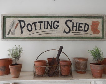 POTTING SHED SIGN -farmhouse signs,vintage style signs, hand painted signs, distressed signs, garden signs, handmade signs,  wooden signs