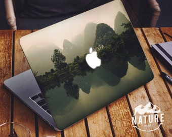 Cool laptop decal with asia countryside cool covers for macbook pro Bamboo cool apple stickers with green landscape -NI040
