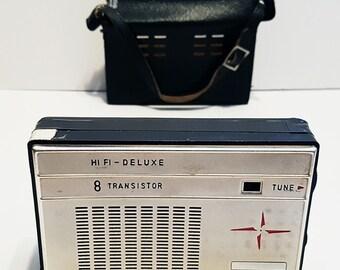 1966 Yashima 8 Transistor Pocket Radio With Leather Case, Made in Japan