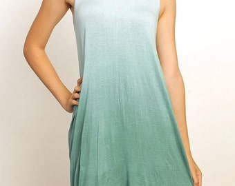 SALE Ombre Sleeveless T-Shirt Dress